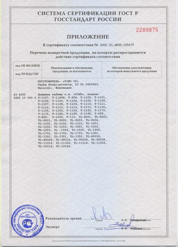 Приложение к сертификату Timo